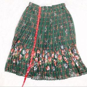 Zara floral window pane pleated skirt elastic midi